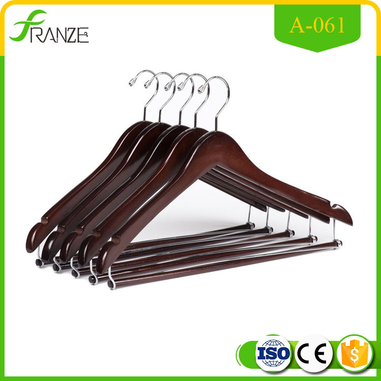 Wooden Hangers Beautiful Sturdy Suit Coat Hangers with Locking Bar Mahogany