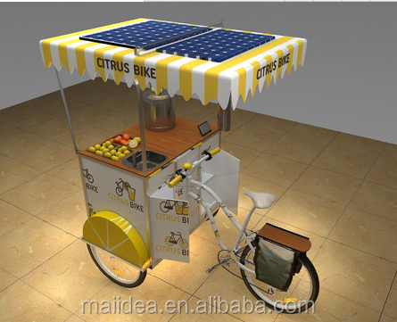 Mobile yellow cafe food bike cart with solar power panel