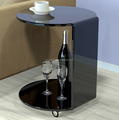 c shape acrylic sofa side table with 4 casters