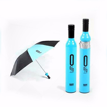 Pragmatic customized wine bottle shape umbrella, polyester fabric bottle cap umbrella