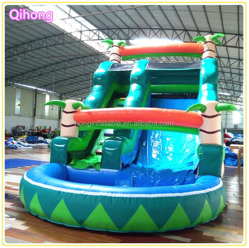 Custom palm tree inflatable water slide parts, inflatable slip n slide for pool, cheap inflatable slide