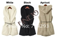 New womens ladie designer faux lamb fur long vest with hood belt latest design of waistcoat 7669