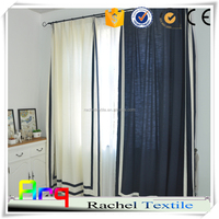"white and blue color linen cotton blend 110"" new design curtain fabric for home/ hotel livingroom window"