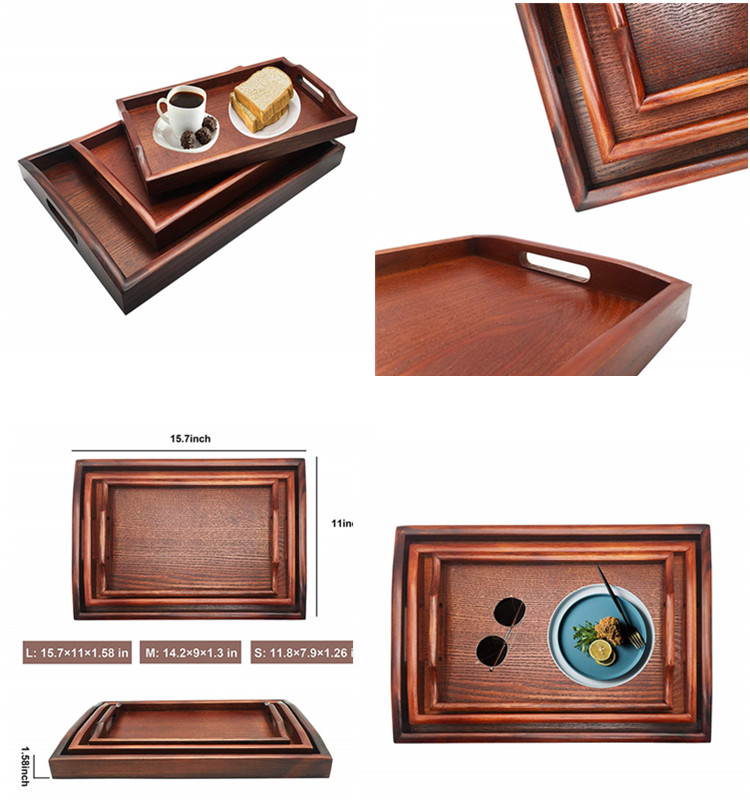 Set of 3 Nesting Breakfast Serving Trays With Handles