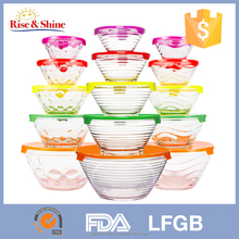 Set of 5 pcs glass mixing salad bowl with colorful plastic lid