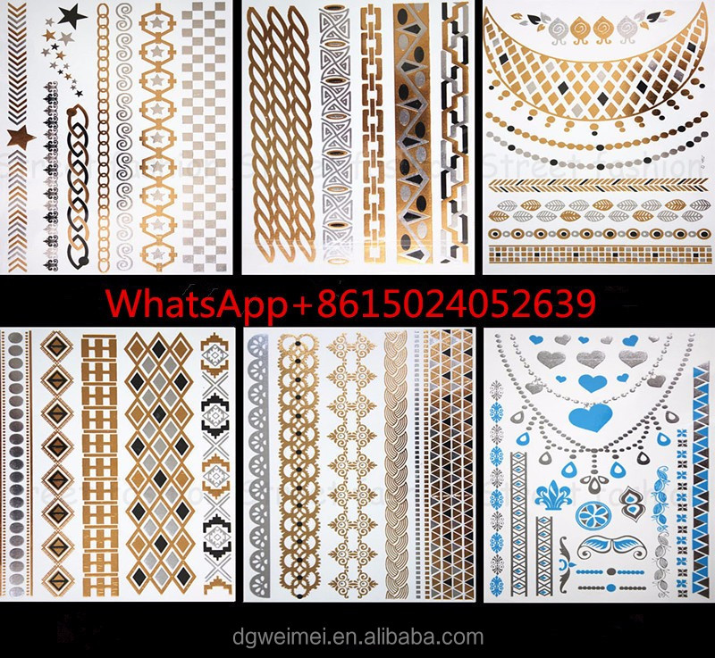 free sample arabic custom gold dubai temporary tattoos stickers