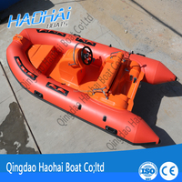 12.8ft 390cm inflatable catamaran hypalon rib fishing fiberglass boat for sale