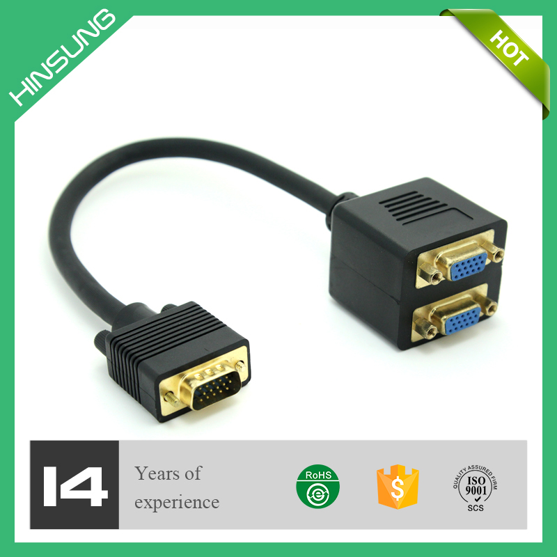 Flexible VGA splitter cable VGA 1in to 2 out 30CM with factory price