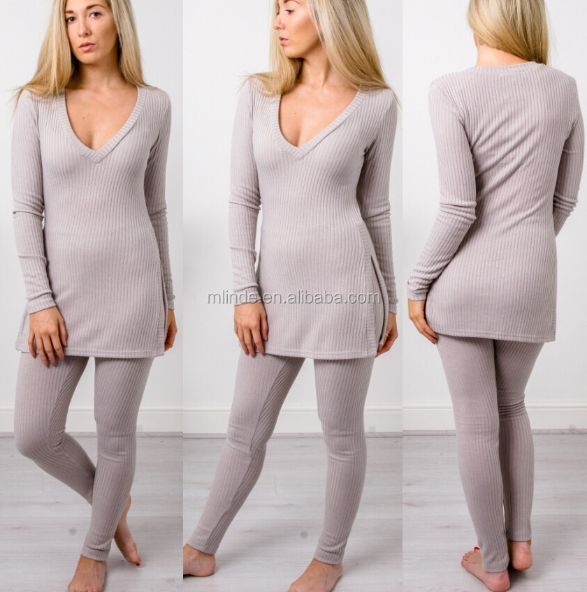 fashion home wear outfit V neckline Split sides gray womens loungewear wholesale lady Ribbed Knit Loungewear