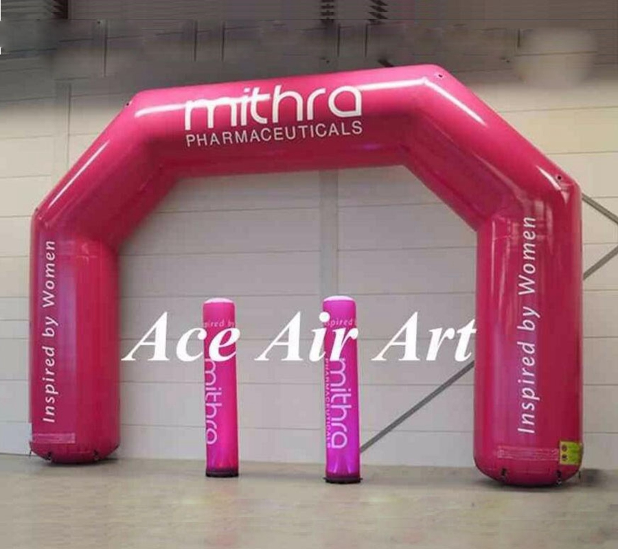 beautiful pink logo printed adverting arch inflatable with pillar,inflatable event arch for sale