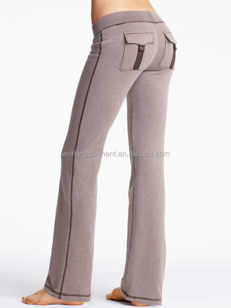 ladies fleece slim fit bootcut pants with princess line detail