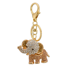 new promotional zinc alloy nickle free multicolor crystal elephant animal pendant keychains jewelry in alibaba