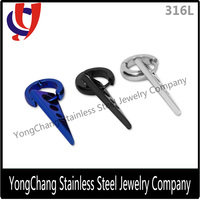 Triangle dangle black/silver/blue surgical steel 316L mens hoop earrings for boys
