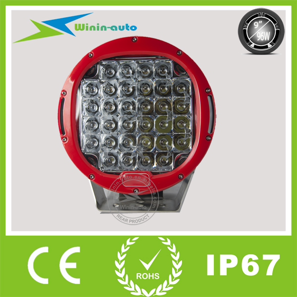 Top quality 96W red led work light IP68 for 4x4 4WD halogen work lights 10-30V DC 96W led spotlight headlamp 9inch <strong>Crees</strong> WI9961
