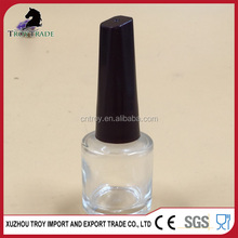large empty glass nail polish bottle 15ml with brush caps black hot sell