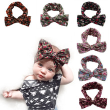 2016 Hot Sale Bohemian Style Printing Bow Elastic Flower <strong>Headband</strong> For Kids