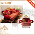 European Gilding and Red Button Tufted Sofa Set, Bouquet Design Comfortable Exclusive Living Room Furniture