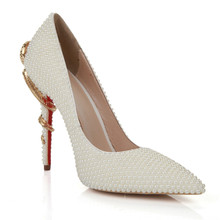 Women red bottom Pearls High Heel Pumps Shoes for Wedding and Prom and Party