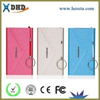 4000mah Portable leather customized logo Envelope power bank custom cell phone charger