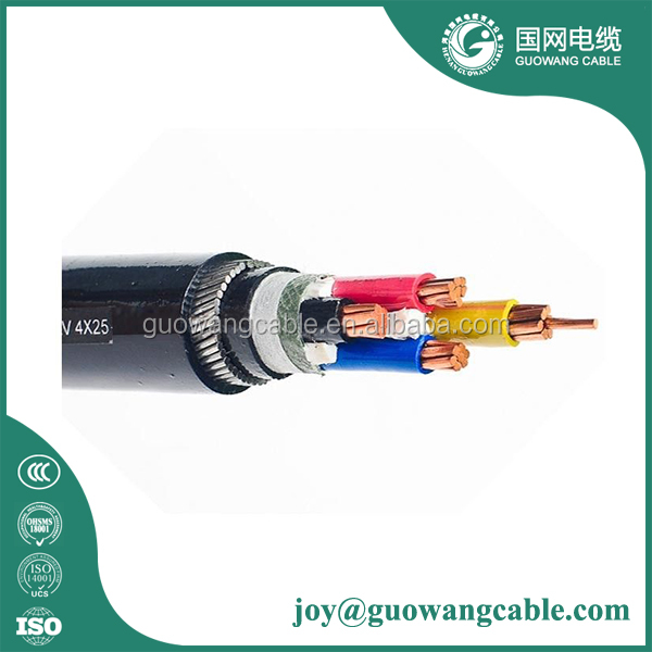 0.6/1kv 4 Core 10mm Copper Pvc Electrical Wire Cable Swa Armoured Cables