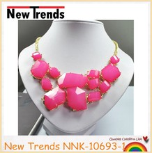 Handmade light candy color acrylic stone choker necklace for lady