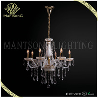 Gorgeous crystal pendant lights and chandelier decorated with candle sconce light for lobby or hotel