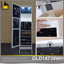 floor Standing jewelry mirror armoire with led lights