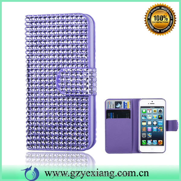 Full Diamond Leather Cover Flip Case For iPhone 4 4S New Case