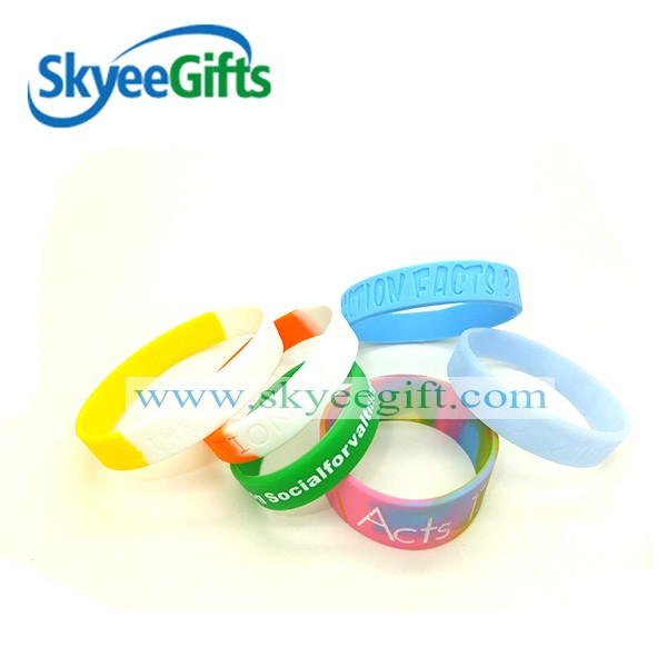 Soft silicone printed/debossed/embossed logo wristband, wholesale custom design silicone rubber bracelet