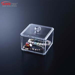 clear cosmetic plastic box for cotton swab acrylic clear cube makeup organizer