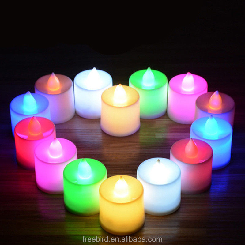Multi-colored mini tealight led candle set