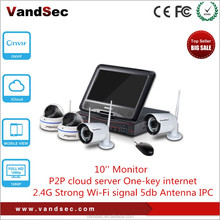 "Vandsec Top10 New 4CH NVR Kit With 1.3mp Wireless IP Camera 10"" Monitor Security Camera System Wireless IP CCTV Camera System"