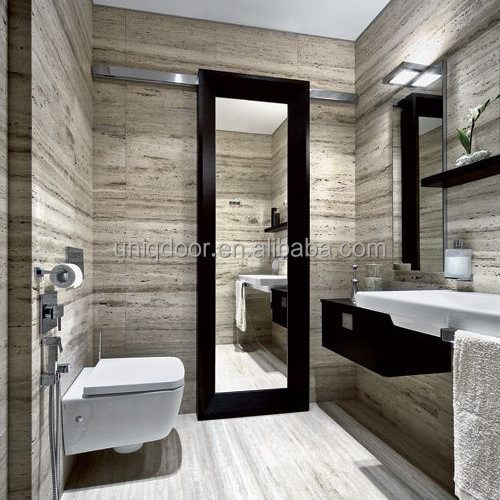 modern mirrored one side glass barn doors for bathroom With barn door with mirror on one side