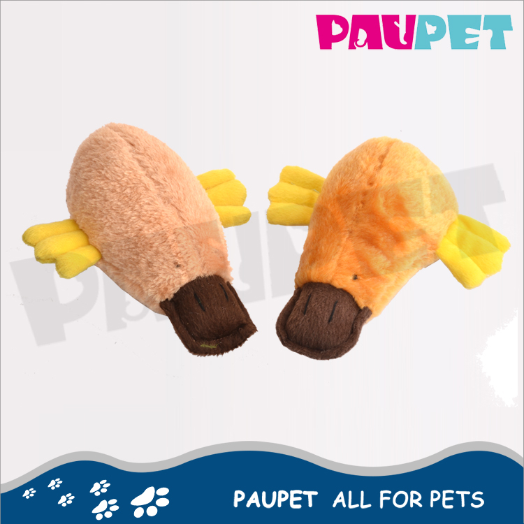 Best Selling fashion plush moving dog crunchy with sound platypus toy for pets