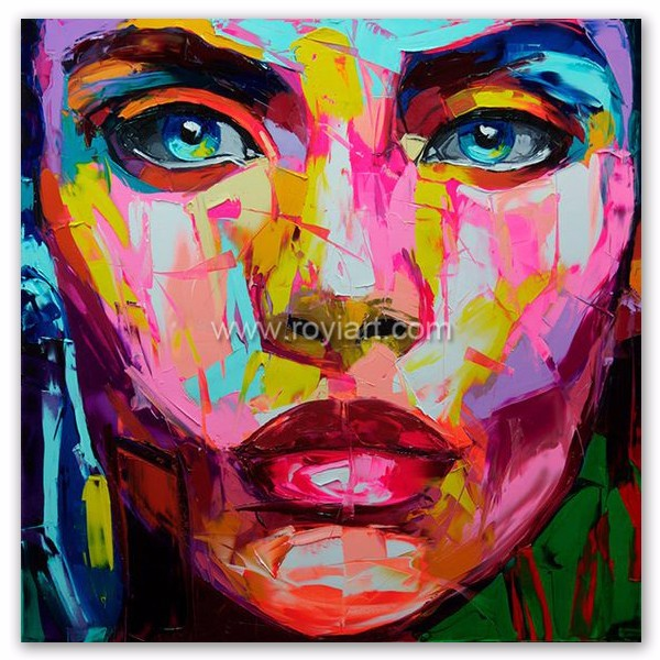 Knife picture pop art woman face portrait oil painting for modern wall art home decoration
