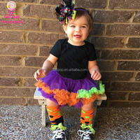 Lovely Baby Halloween Short Sleeves Two layers Tulle Tutu Romper Dress Boutique Toddler Baby Ruffle Romper