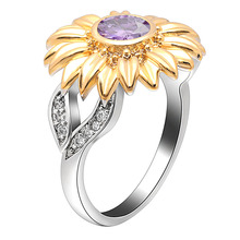 AAA CZ stone ring jewelry Femme silver color cute sunflower gold crystal wedding rings for women gift dropshipping