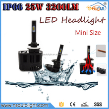 New! small size All in one IP66 waterproof 50W 6400LM P6 LED headlight bulb H4 H7 H8 H9 H10 H11 H13 H15 H16