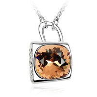 2014 September Hongkong Fair New Products Ladies Charm Crystal Lock Necklace