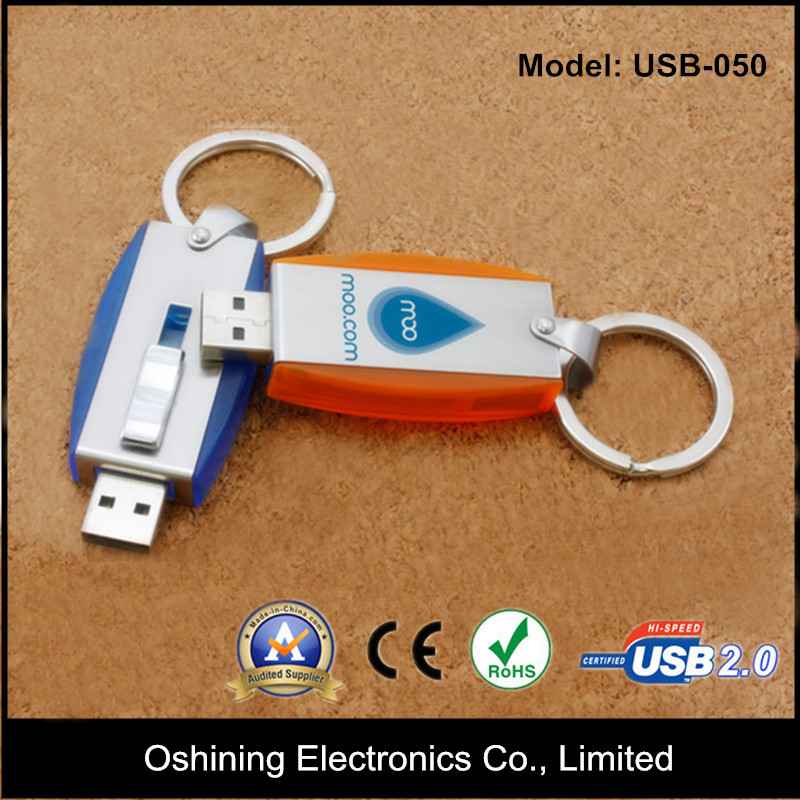 Mouse Shape Mass Production Hand-putting Plastic USB Flash Drive with Key Chain ( USB-050 )
