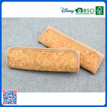 High quality cork material with velcro cartoon wood feel pencil case/pencil box