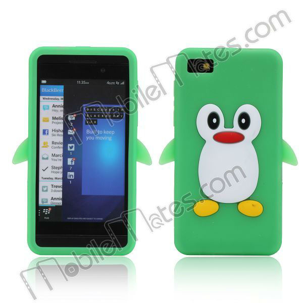 Candy Color Cute Penguin Design Soft 3D Silicon Case for BlackBerry Z10