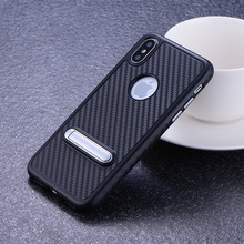 Combo Carbon Fiber Look Kickstand Soft Cover Phone Case For Apple iPhone X