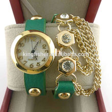 Elegant ladies alloy chains leather wristband women beautiful party watch