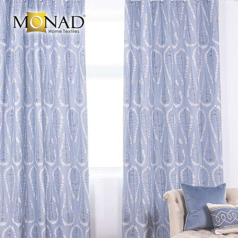 Monad eco-friendly printed sky blue abstract leaf modern blackout curtain fabrics for hotels room