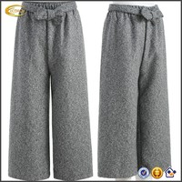 Ecoach Wholesale OEM Ladies Casual Elastic Waist Grey Knotted Cropped Trousers Wide Leg Pants