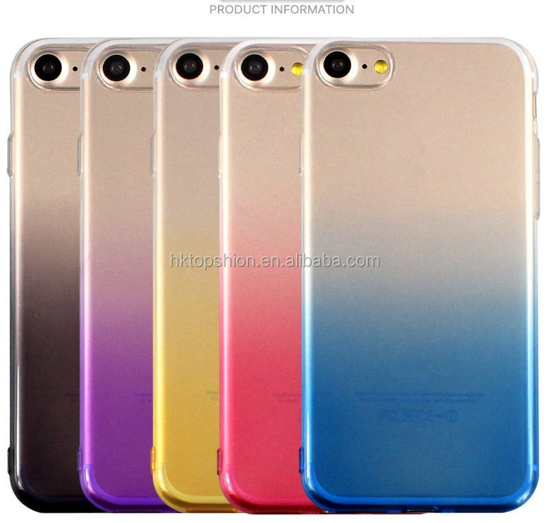 Super slim for iphone 7 gradient colors tpu case cover mobile phone case