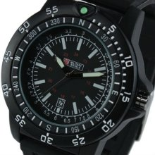 New Swiss Design Mens Black Military Functional Bezel Red 24 hours Ring Army Watch MR064