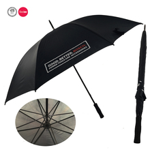 750mm*8K hand/manual open custom print double ribs black golf umbrella with EVA handle
