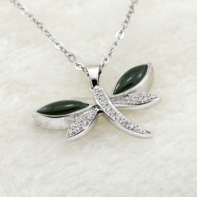 green gemstone s925 sterling silver dragonfly korean pendant necklace 925